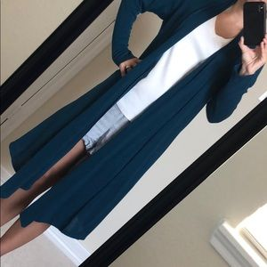 Rags & Couture Long Cardigan Teal Sz XL